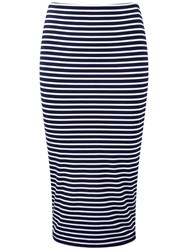 Pure Collection Jersey Stripe Tube Skirt Navy White