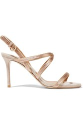 Valentino Satin Trimmed Suede Sandals Taupe