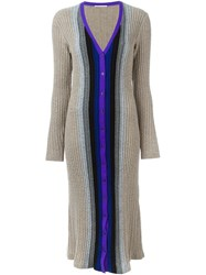 Marco De Vincenzo Long Cable Knit Cardigan Nude And Neutrals