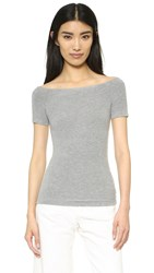 Getting Back To Square One Off Shoulder Tee Heather Grey