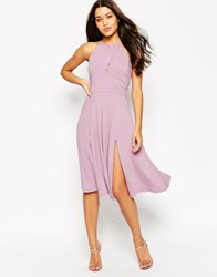 Asos High Neck Drape Front Midi Skater Dress Multi