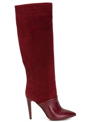 L'autre Chose Knee High Stiletto Boots Red