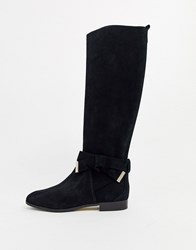 Ted Baker Sintiia Suede Bow Detail Knee High Boots Black