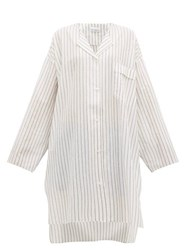 Raey Sheer Striped Cotton Shirtdress White Stripe