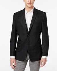 Andrew Marc New York Men's Windowpane Slim Fit Sport Coat Charcoal