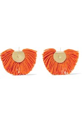 Katerina Makriyianni Fan Gold Tone Wool Blend Earrings Orange