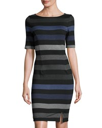 Three Dots Aviva Striped Sheath Dress Black Comb