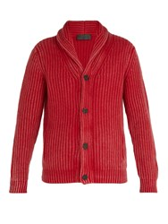 Iris Von Arnim Calvin Shawl Collar Cashmere Cardigan Red