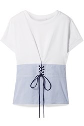 3.1 Phillip Lim Lace Up Cotton Jersey And Striped Poplin Top White Gbp