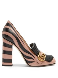 Gucci Marmont Fringed Leather Pumps Black Nude
