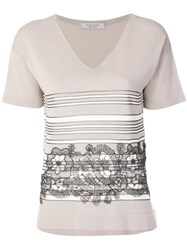 D.Exterior Lace Insert T Shirt Nude And Neutrals