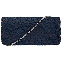John Lewis Lily Lace Clutch Bag Navy