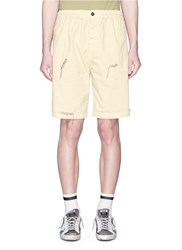 The Editor Contrast Stitch Cotton Linen Shorts Neutral