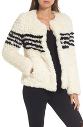Love Token Faux Fur Jacket Ivory W Black Stripes