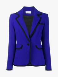 Osman Contrast Trim Wool Blazer Blue Black