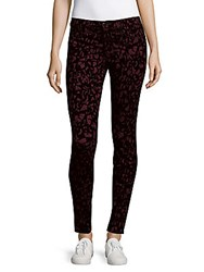 J Brand Abstract Print Slim Fit Ankle Pants Mulberry