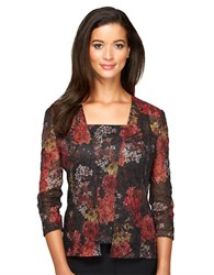 Alex Evenings Floral Print Twinset Black Red Floral