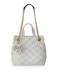 Betsey Johnson Bee Mine Heart Quilted Shopper Bag White