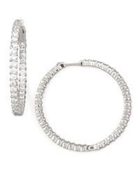 38Mm White Gold Diamond Hoop Earrings 2.46Ct Roberto Coin Red