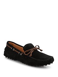 Saks Fifth Avenue Suede Boat Shoe Drivers Black