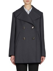 Nina Ricci Wool Gab Pea Coat Dark Blue