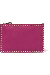 Valentino The Rockstud Textured Leather Pouch Pink