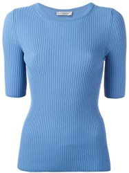 Sportmax Ribbed Knit T Shirt Blue