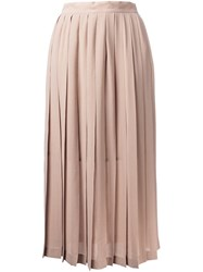 Cityshop Pleated Midi Skirt Brown