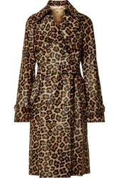 Michael Kors Collection Leopard Print Calf Hair Trench Coat Leopard Print
