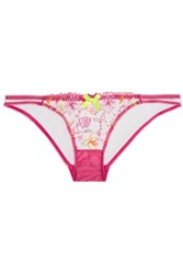 Agent Provocateur L'agent By Ffion Embroidered Tulle Briefs Bright Pink
