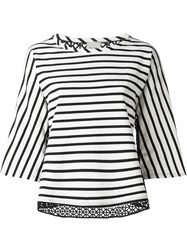 Nude Perforated Back Striped Top White