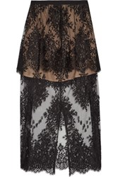 Michelle Mason Layered Chantilly Lace Midi Skirt Black