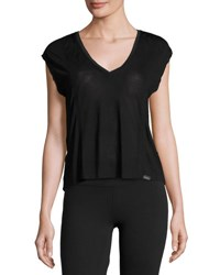 Koral Click Draped Back Jersey Crop Top Black