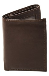 Men's Cathy's Concepts 'Oxford' Personalized Leather Trifold Wallet Brown Brown F