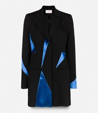 Christopher Kane Tailored Coat With Contrasting Fabric Inserts Black