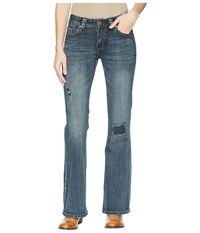 Rock And Roll Cowgirl Mid Rise Bootcut In Dark Vintage W1f5084 Dark Vintage Jeans Navy