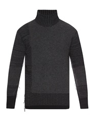 Yohji Yamamoto Roll Neck Striped Wool Blend Sweater