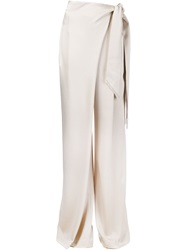 Maiyet Wrap Palazzo Trousers Nude And Neutrals