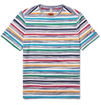 Missoni Striped Knitted Cotton T Shirt White