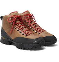 Roa Andreas Rubber Trimmed Distressed Nubuck Hiking Boots Brown