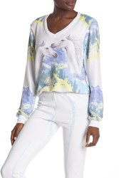 Wildfox Couture Wild Horses Baggy Beach V Neck Sweatshirt Multi Colo