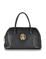 Roberto Cavalli Large Black Leather Satchel Bag