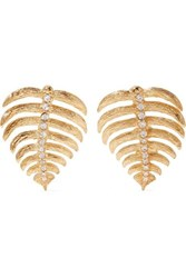 Kenneth Jay Lane Gold Tone Crystal Earrings One Size
