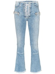 Unravel Project Cropped Frayed Jeans Blue