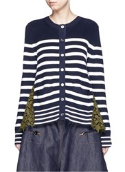 Sacai Stripe Cotton Knit Star Lace Back Cardigan Blue Multi Colour