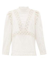 Sea Victoria Embroidered Pintucked Cotton Blouse White