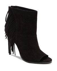 Dolce Vita Hanover Fringe Open Toe High Heel Booties Black