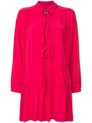 Boutique Moschino Drop Waist Tunic With Tie Detail Rayon Pink Purple