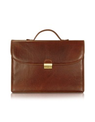 Chiarugi Men's Handmade Brown Leather Single Gusset Briefcase Dark Brown