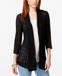 Jm Collection Open Front Three Quarter Sleeve Cardigan Only At Macy's Deep Black